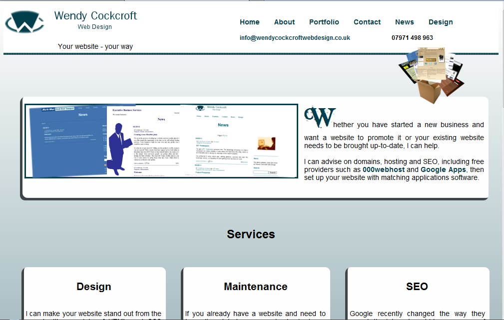 My old website, early design screenshot