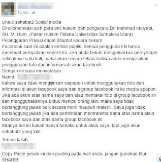 Larangan Copas Status & Ambil Foto Di Facebook Ternyata Hoax!!