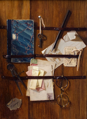 trompe loeil, still life with notes, vintage glasses
