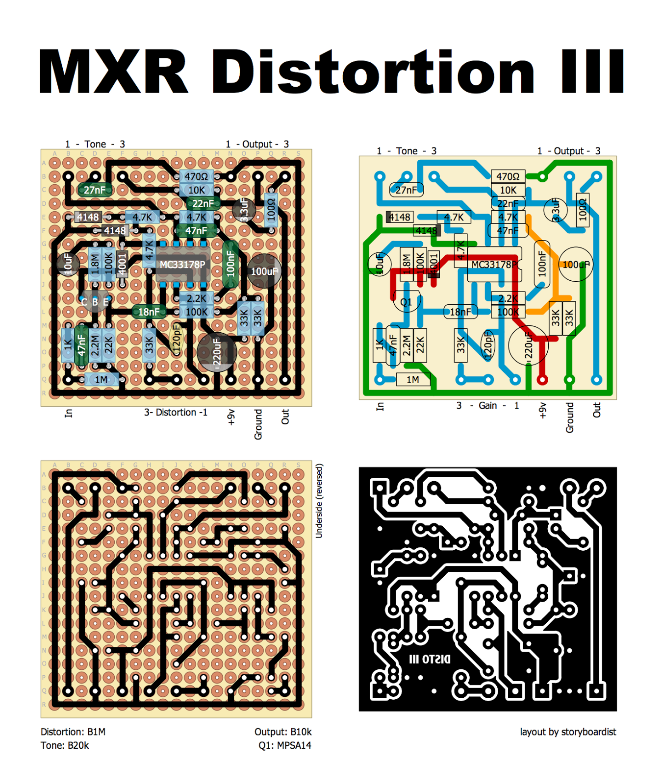 perf and pcb effects layouts mxr distortion iii. Black Bedroom Furniture Sets. Home Design Ideas