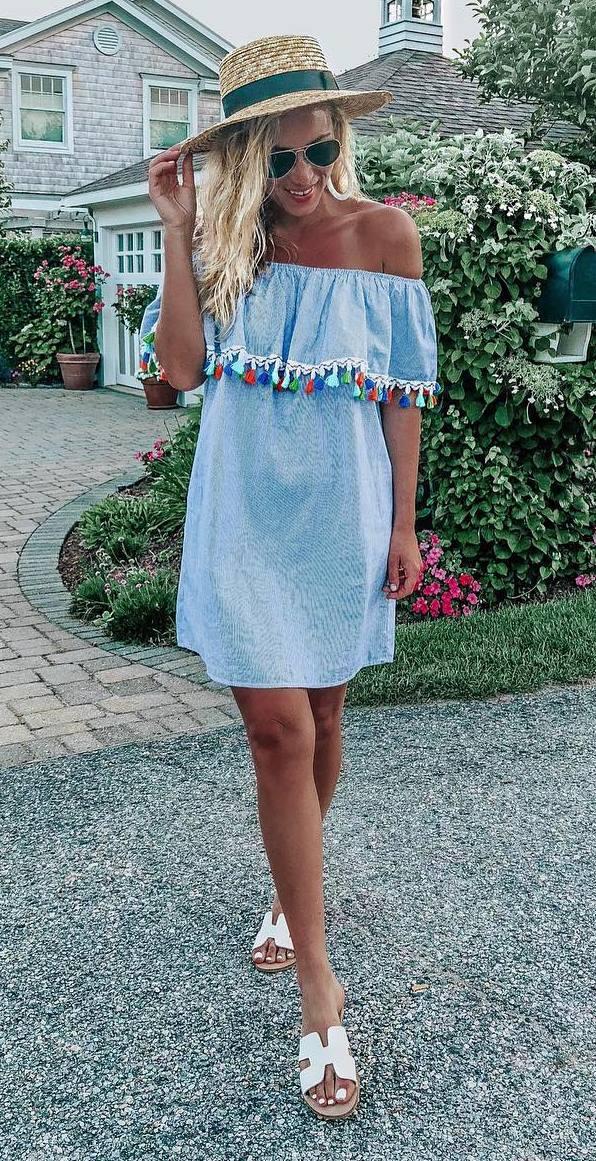 best summer outfit / hat + tassel dress + white slides