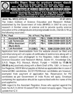 Applications are invited for Asst Registrar, Lab Technician, Office Asst and Lab Asst Posts in IISER Mohali