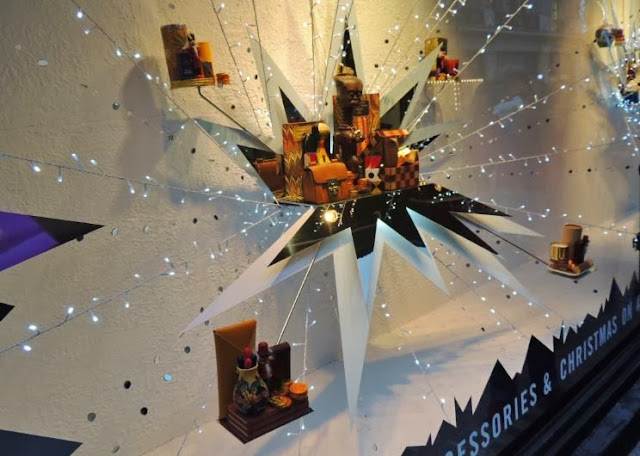 Christmas star shaped arrangements at Liberty department store