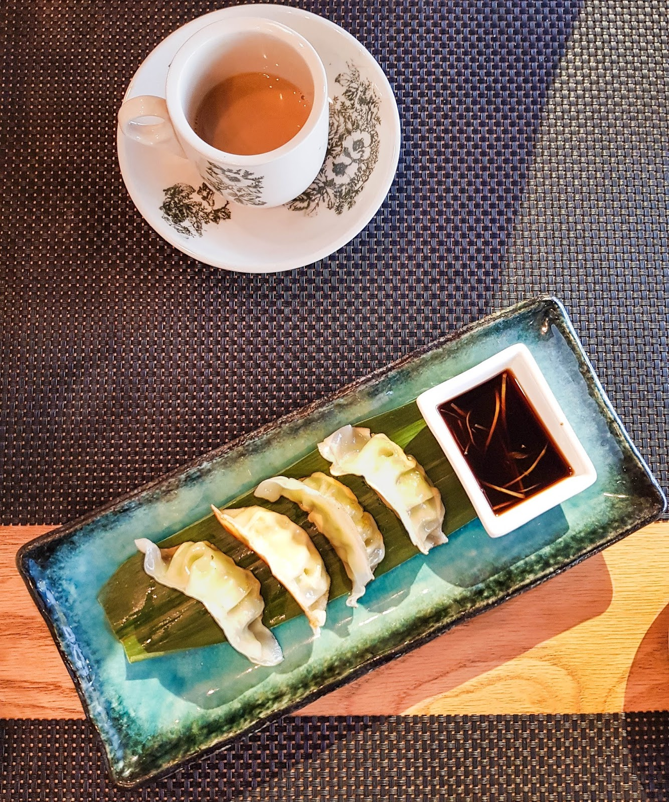 Chicken gyoza and malaysian coffee