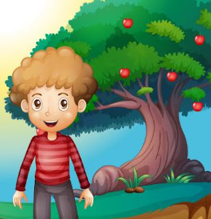 A boy and An Apple Tree