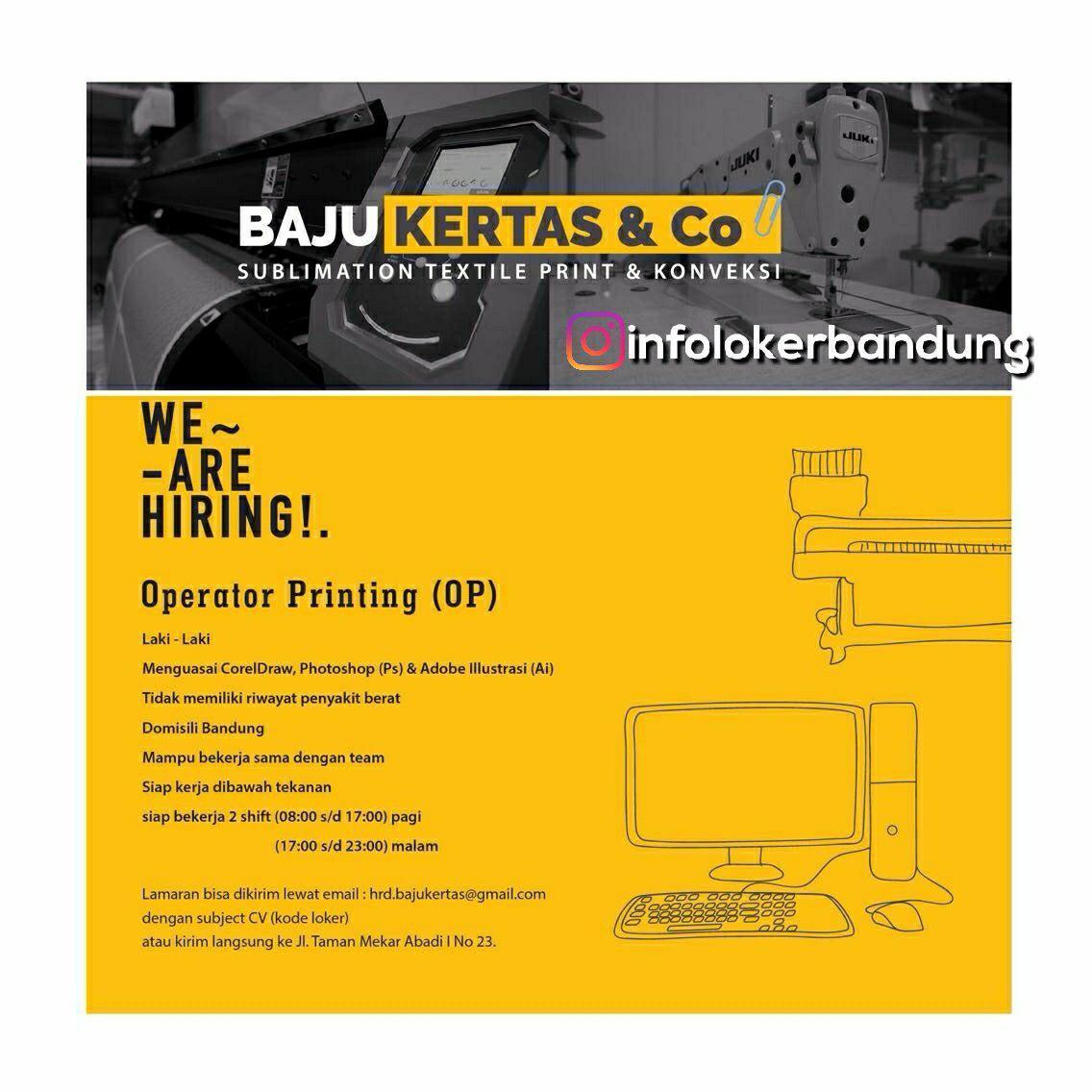 Lowongan Kerja Baju Kertas & Co Bandung Mei 2018