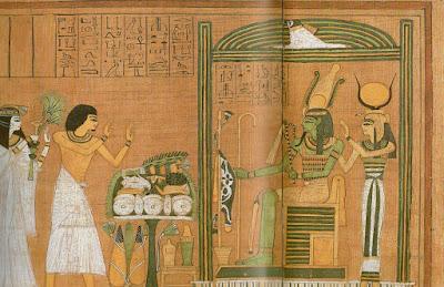Kuvassa on Osiriksen vinjetti, sen edessä uhrilahjapöytä, sekä Totuuden tien kulkija.