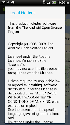 open source software license information/Legal Notices for Google Maps Android API v2