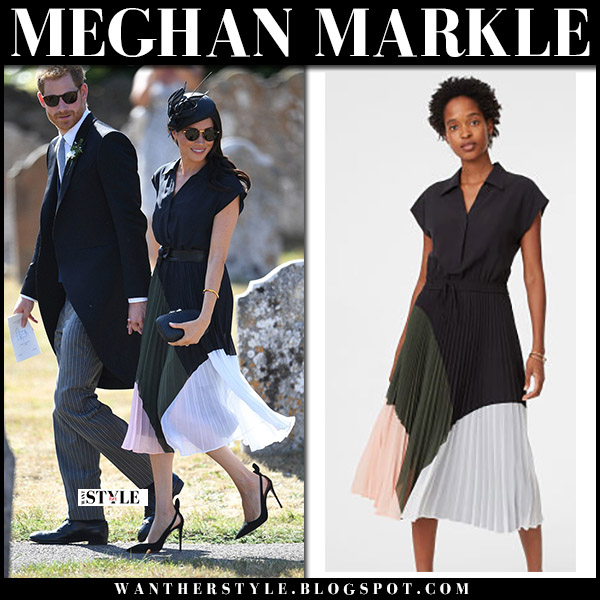 Meghan Markle in colour block pleated midi dress club monaco shoanah royal family birthday style august 4