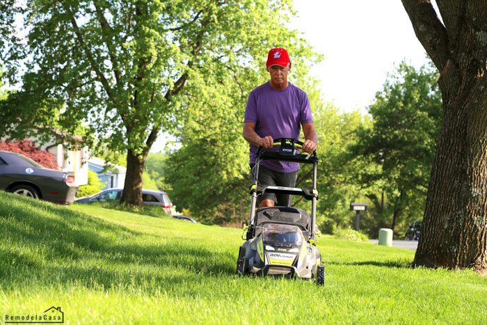 Large yard being mowed with a self-propelled Ryobi mower