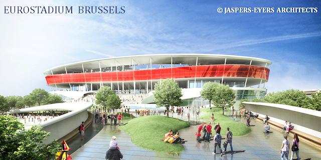 EUROSTADIUM BRUSSELS - Nouveau stade national de football à Grimbergen - Suite du feuilleton rocambolesque de 2015 à...-  Pont-passerelle reliant le nouveau stade au site du Heysel - Bruxelles-Bruxellons