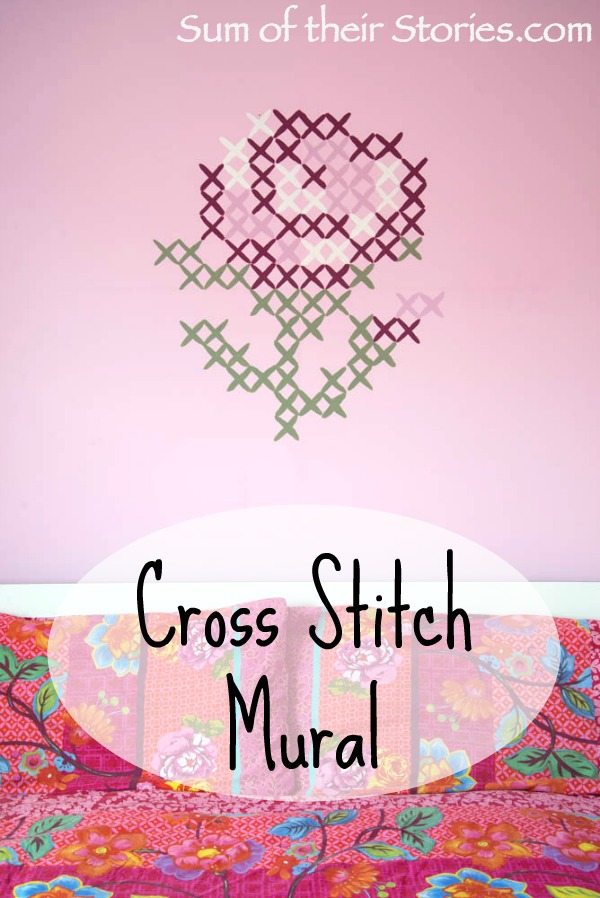 Simple cross stitch mural sum of their stories for Cross stitch wall mural