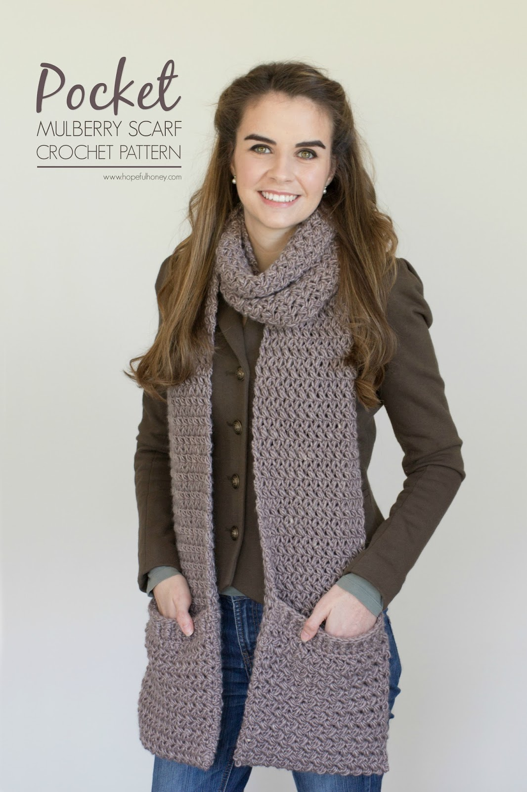 Mulberry Shadow Pocket Scarf - Free Crochet Pattern Hopeful Honey Craft, ...