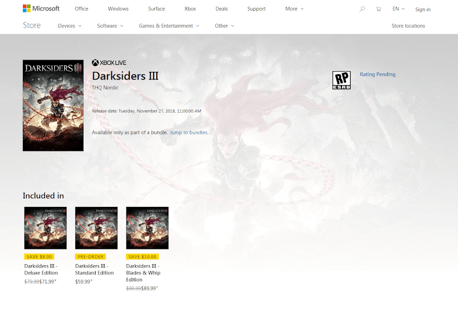 darksiders 3 release date leaked microsoft store