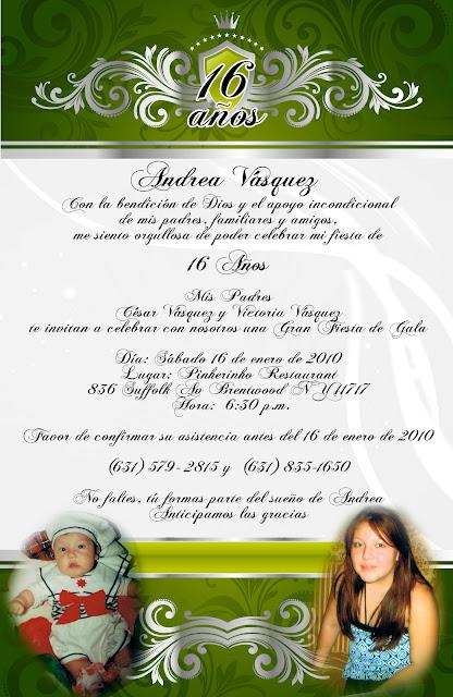 Invitación novedosa para 15 años verde y plateado pergamino