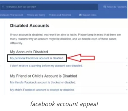 Facebook Helpdesk Once In, You U201cMy Pesonal Facebook Account Is Disabledu201d  Option To Click On,