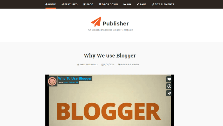 Publisher Free Blogger Template