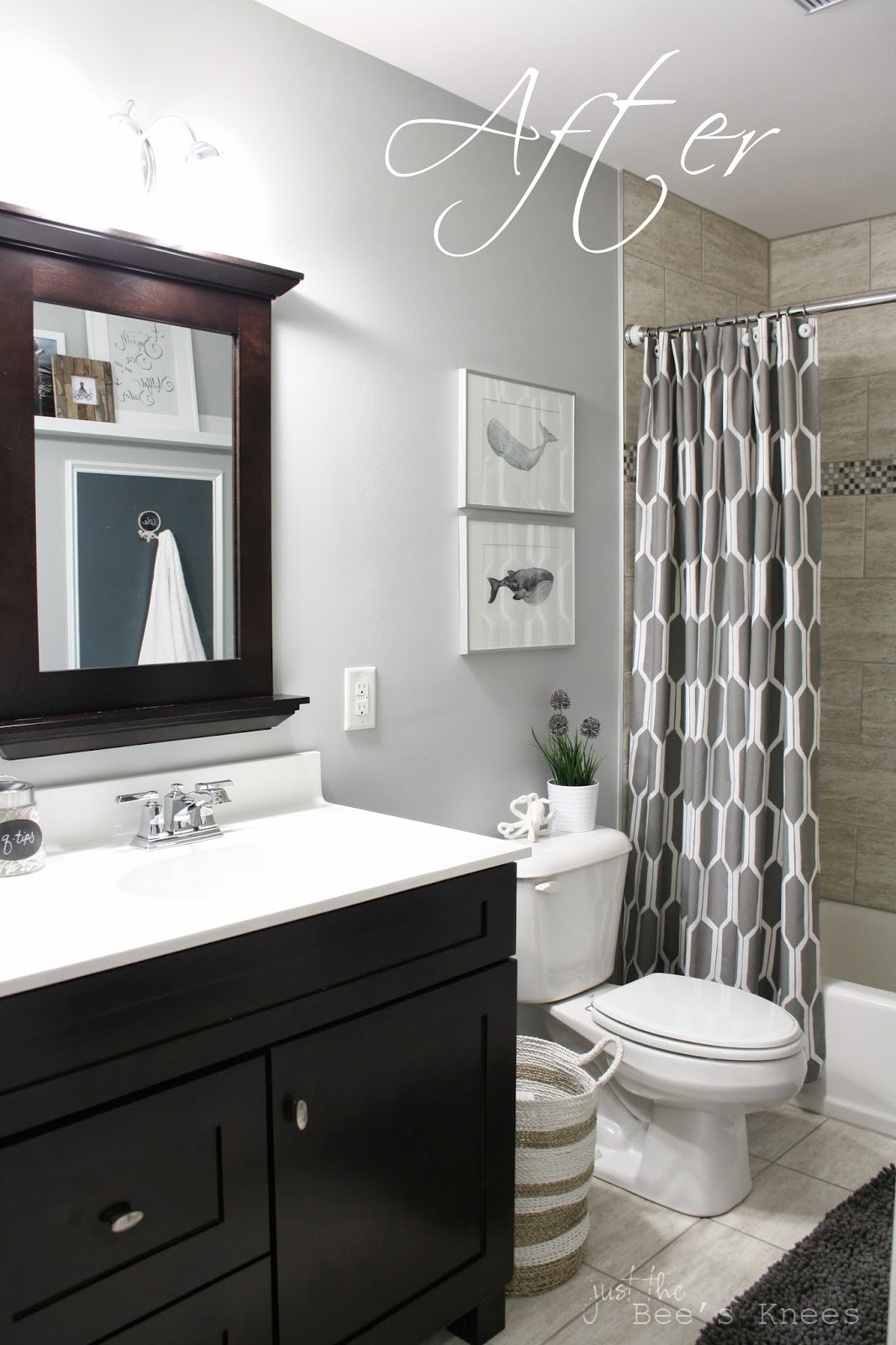 Black White Gray Bathroom Ideas Just The Bee 39s Knees The Boys Bathroom Room Reveal