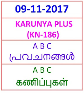 09 NOV 2017 KARUNYA PLUS (KN-186)  ABC PREDICTIONS