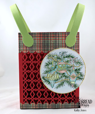 Our Daily Bread Designs Stamp Set: Noel Ornaments, Custom Dies: Card Caddy & Gift Bag, Gift Bag Handles & Toppers, Double Stitched Circles, Paper Collection: Christmas 2017