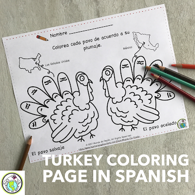 Thanksgiving Turkey Coloring Page Cultural Comparison for Spanish Class