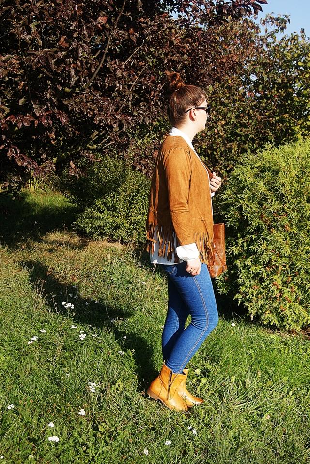 jesienna stylizacja z jeansami i brązami