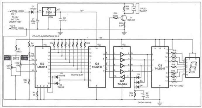 12v lead acid battery monitor circuit diagram