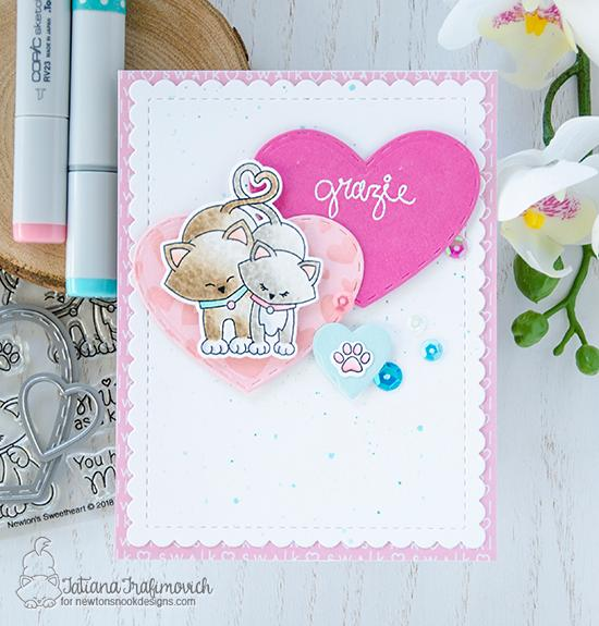 A Delightful Duo of Cards by Tatiana Trafimovich | Newton's Sweetheart Stamp Set by Newton's Nook Designs #newtonsnook #handmade