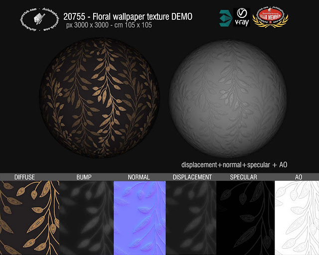 Floral wallpaper texture seamless 20775 and maps, bump, displacement, normal, specular and ambient occlusion