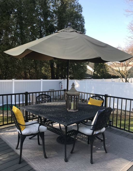 Patio furniture ideas and cleaning an umbrella