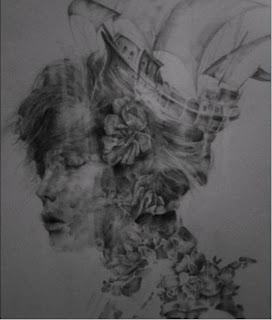 Retrato de mujer y flores