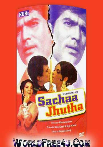Poster Of Bollywood Movie Sachaa Jhutha (1970) 300MB Compressed Small Size Pc Movie Free Download worldfree4u.com