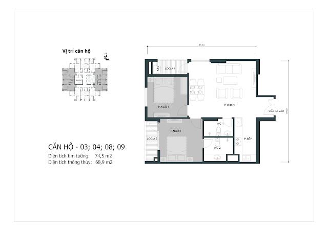 Thiết kế căn hộ số 03-04-08-09 (dt thông thủy 68,9m2)