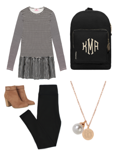 striped peplum top with leggings and booties