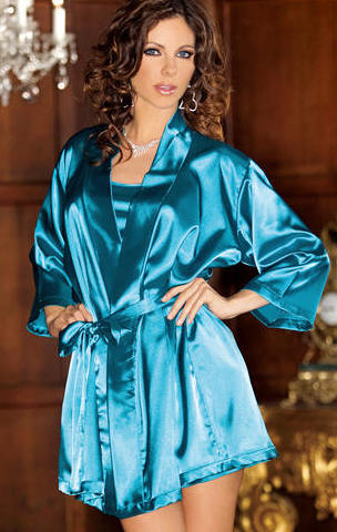 beautiful satin lingerie robe ladies fashion style