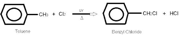 Benzyl chloride By passing chlorine into boiling toluene in the presence of UV light.