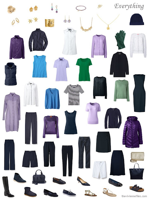 wardrobe and accessories in navy, purple, green, blue and white