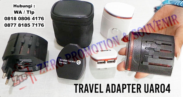 Travel Adapter dengan USB Charger, Travel Adaptor Merchandise UAR04, Travel Adaptor - Tour & Travel model pouch