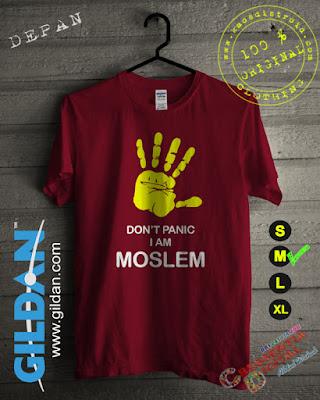 Kaos Gildan Islami Dont panic Warna Merah Maroon