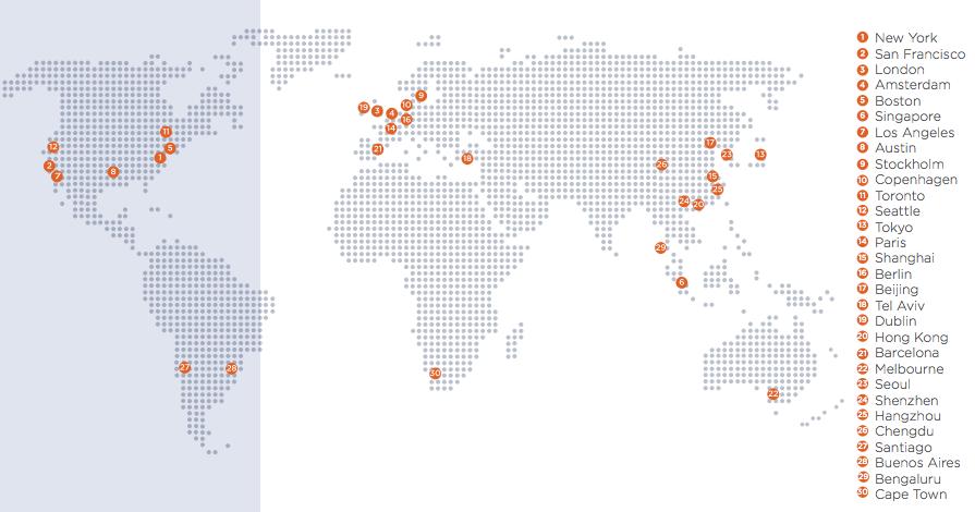 Mapa de la ciudades tecnológicas del mundo.