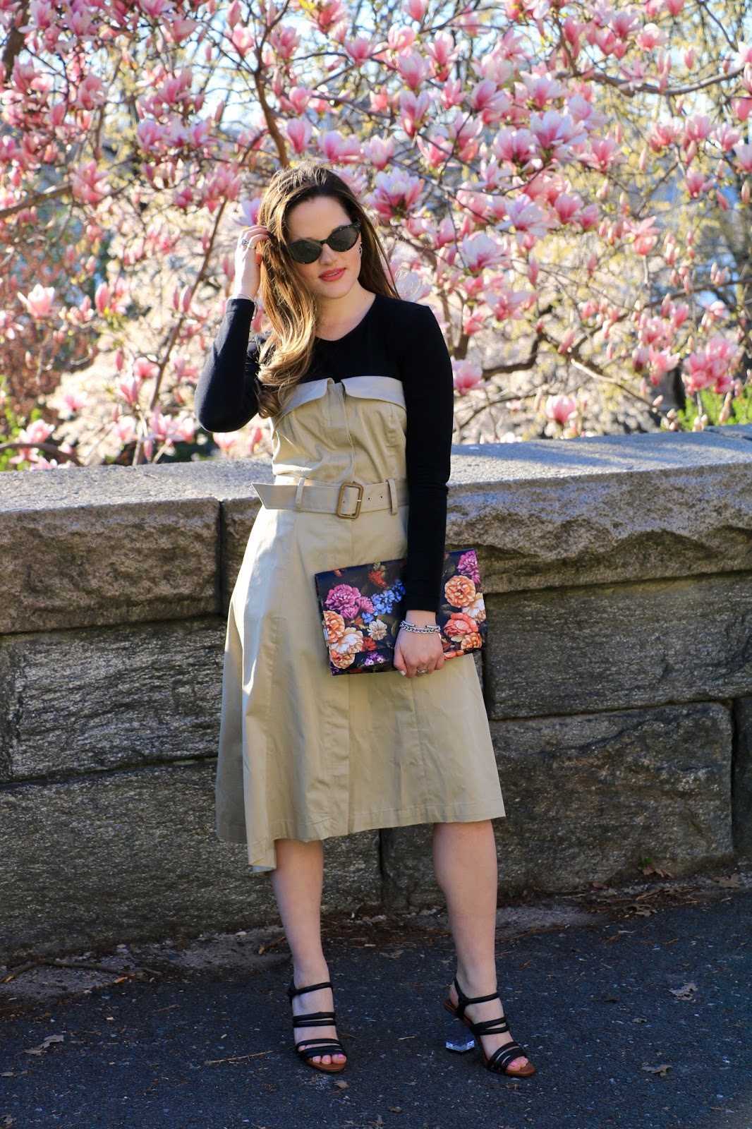 Nyc fashion blogger Kathleen Harper showing how to wear a bodysuit under a strapless dress