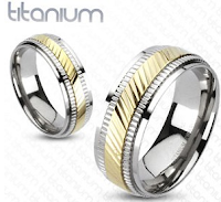 image Frugal WEdding bands two tone diagonally milled Titanium Wedding  Bands