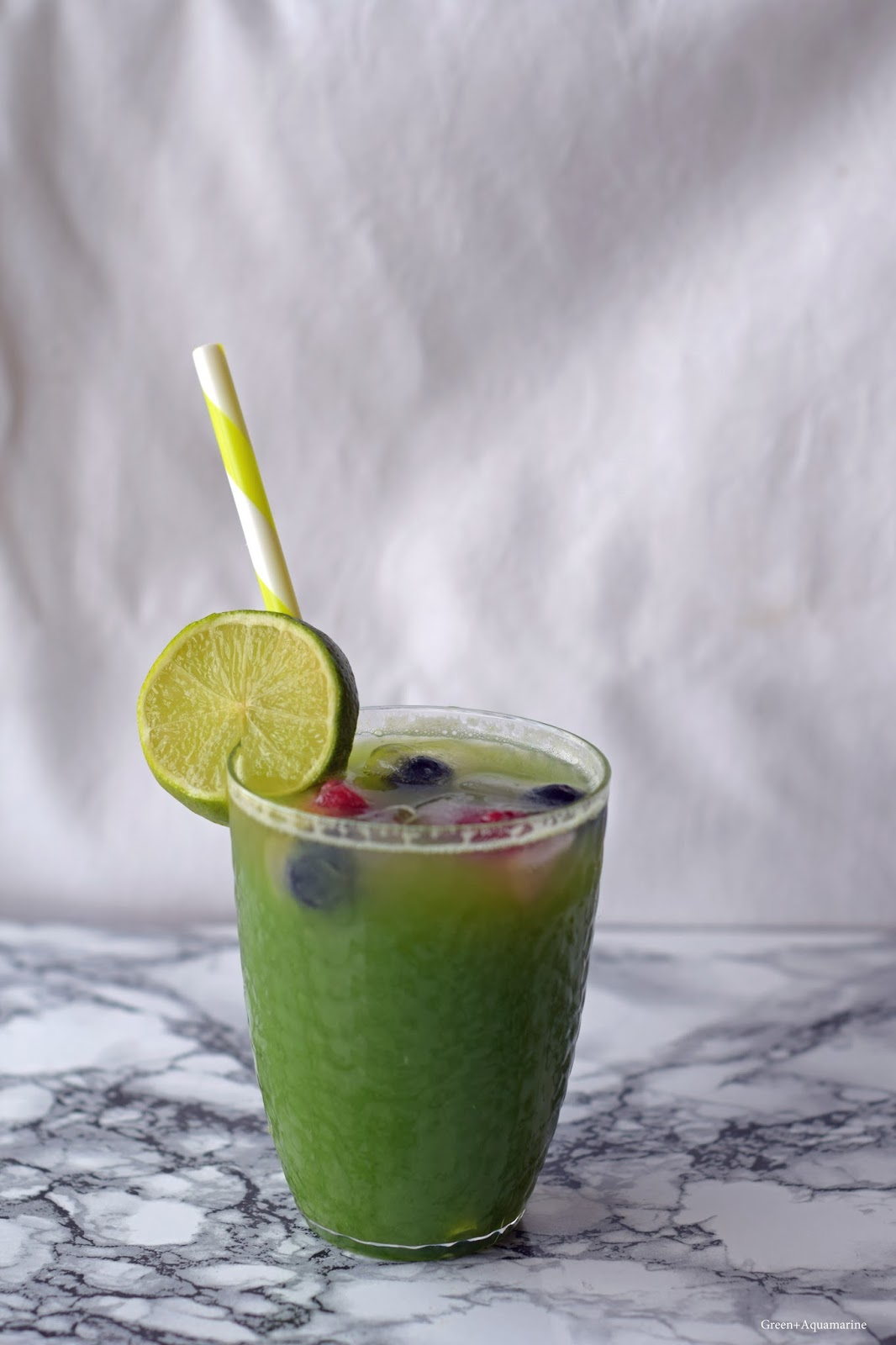Cucumber, matcha, lime and ginger drink recipe, perfect for summer mocktails. Via @eleanormayc