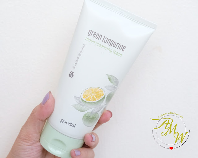 a photo of Goodal Green Tangerine Skincare review Moisturizing Foam, Moist Fresh Toner and Moist Serum.