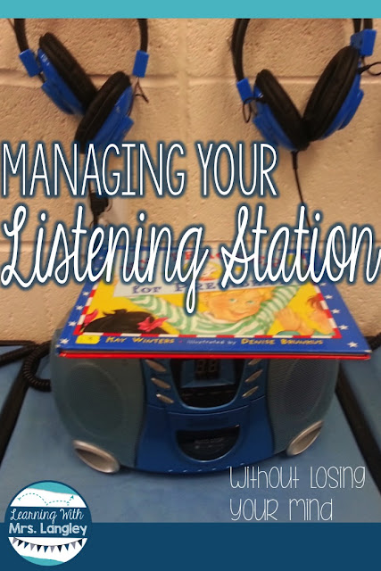 Managing your listening station from set up to everyday use for Daily 5, literacy centers, or just a fun option for word work. These organization tips will help you get your listening station set up and this post includes a link to a freebie response sheet for added accountability at the listening station.