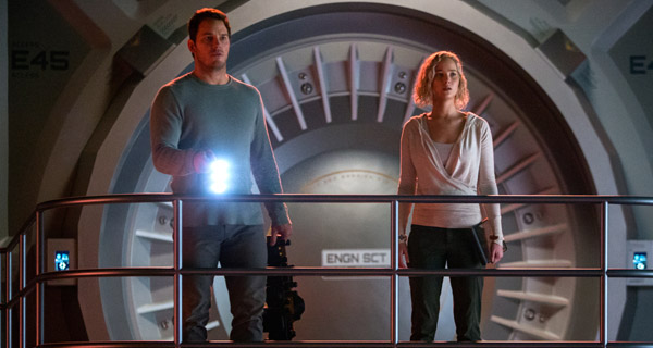 "Chris Pratt y Jennifer Lawrence en ""Passengers"""
