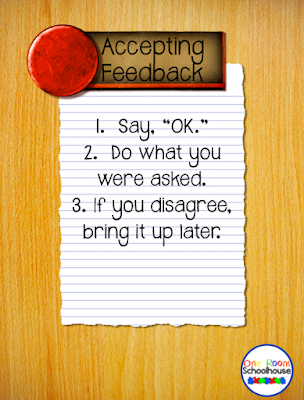 Rules to teach students on how to accept feedback.