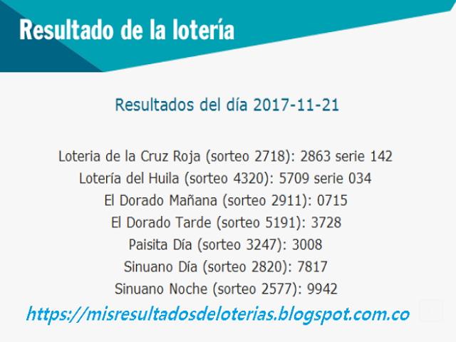 Como jugo la lotería anoche - Resultados diarios de la lotería y el chance - resultados del dia 21-11-2017