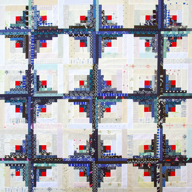 Bluebird Curvy Log Cabin Quilt | Work in Progress - Red Pepper Quilts 2016
