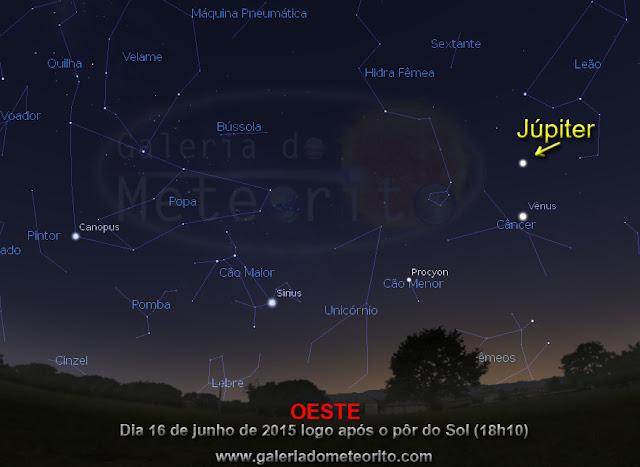 Júpiter no céu - eclipse das luas de Júpiter 2015